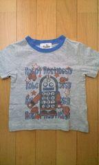 ロボット絵柄グレーのTシャツ(95�a)