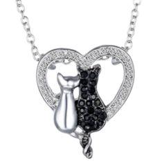 新品 1円〜 ★送料無料★ ブラックダイヤ 猫カップルハート ラブネコ ネックレス