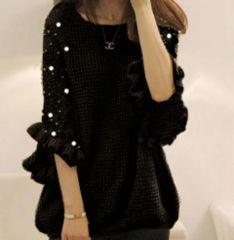 新品【6497】XXL(大きいサイズ)パール付き黒ゆったりセーター