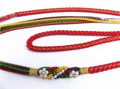 パール飾り付先割れ正絹帯締め帯〆赤色 振袖成人式&着物に