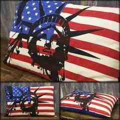 USA 自由の女神 フラッグ ロングクッション 綿100% ATZ-7L