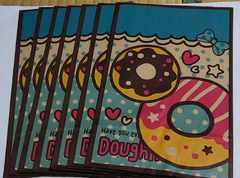 ★SWEETSドーナツ☆クラフトギフトバッグ★ブルー★大8枚
