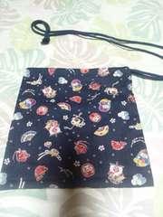 ☆新品紺×寿目出鯛和柄ナナメ掛巾着袋