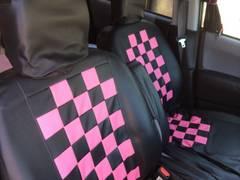 ◆スズキワゴンR等シートカバー中古訳あり★黒ピンク派手系