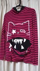 ロック!zipper系!フード付きボーダーネコTシャツ サイズL 新品