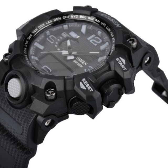 LED デジタル表示 アナログ表示 アナデジ式 ブラック  < 男性アクセサリー/時計の