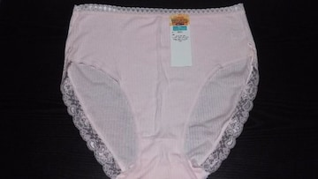 新品 シンプル綿100%ショーツ(5L)薄いピンク×レース