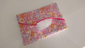 ハンドメイド*花柄のポケットティッシュカバー*ピンク
