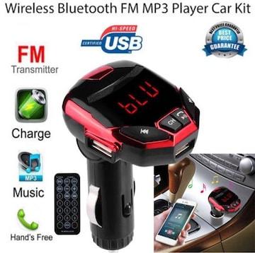 Bluetooth FMトランスミッター アイアンマン 風  充電 レッド