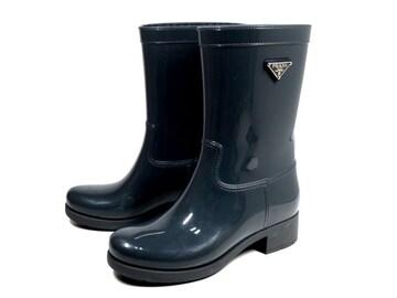 正規プラダレインブーツ長靴ラバーグレープレート付