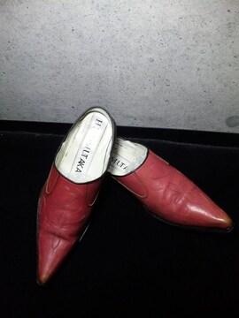 ヒロムタカハラ〓ハート刺繍入シューズ靴ピンク系/44ロエンROEN