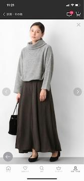 レプシムLEPSIMワイドガウチョパンツロングスカート Lサイズ