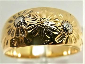 K18 18金 リング 月型甲丸 柄入 サイズ#9~9.5 結婚指輪