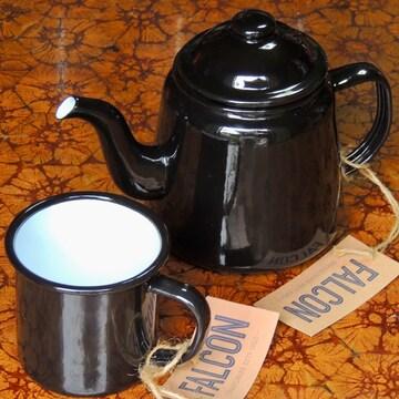 ファルコン英国伝統ホーロー食器ティーポット&マグsetブラック