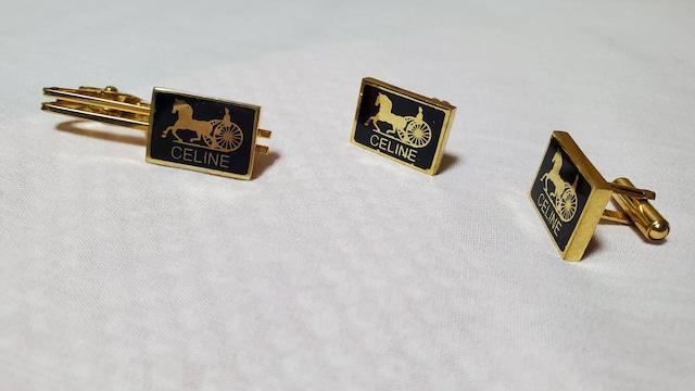 正規 セリーヌ クラシック 馬車ロゴスクエアカフス ゴールド×黒系紺 ネクタイピン セット < ブランドの