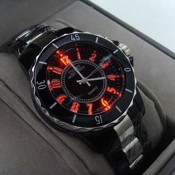 """世界時計★7色LEDデジタル腕時計""""OHSEN""""黒"""