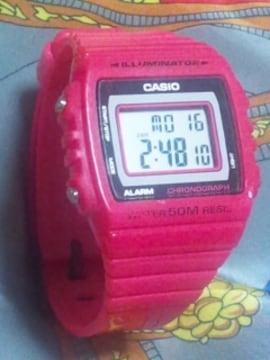 CASIOクレイジーカラー明るい蛍光ネオンピンクデジタル腕時計クロノグラフ