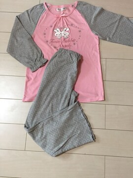 うさぎのパジャマ☆ピンク×グレー☆寝間着☆春、秋物☆160cm