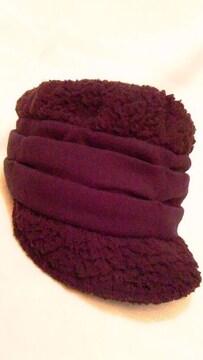 モコモコボア&ニットプリーツ帽子〓ワークキャップ〓ツバ付きキャップ〓黒ブラック
