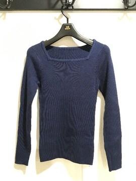 新品タグ付アンティローザ長袖リブニットセータートップスネイビー紺