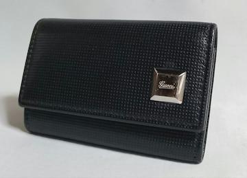 正規良 GUCCIグッチ ロゴ金具装飾 6連レザーキーケース 黒×シルバー キーホルダー