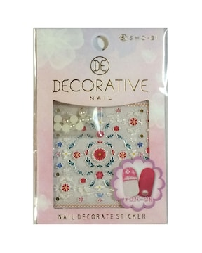 DECORATIVE デコパーツ付き ネイルシール flower stitch01