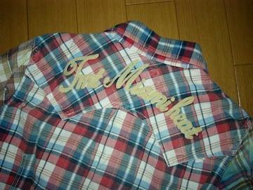 TMTマルチカラーチェックシャツS背ロゴクレイジー