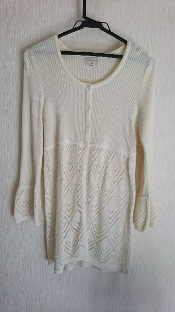 カーディガンチュニック/ホワイト  < 女性ファッションの