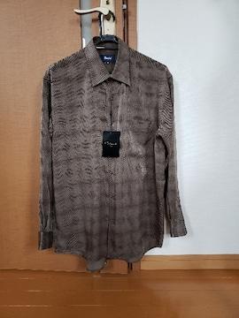メンズ トップス 長袖シャツ ブラウス 柄物 ブラウン L