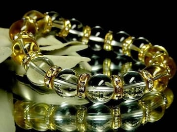 ブラジル産§天然本水晶12ミリ金ロンデル数珠