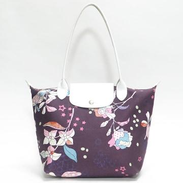 ロンシャン トートバッグ プリアージュ 花柄 紫 良品 正規品