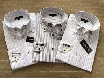 長袖ワイシャツ新品 ストライプ(2)3枚セット Mサイズ