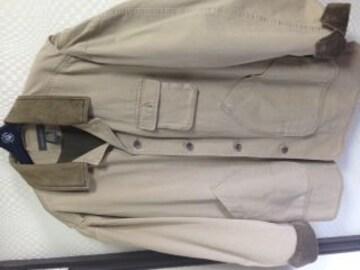 バナナリパブリック 襟革ジャケットコート