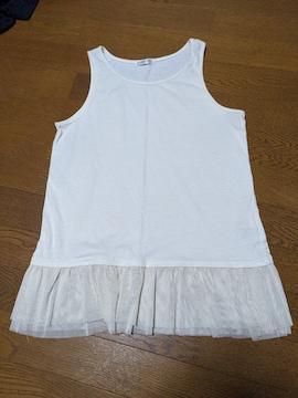 シネマクラブ/タンクトップ/フリル/白/袖なし/Tシャツ/M
