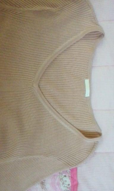 GU広めVネックフレア袖が素敵なニットワンピースピンク色