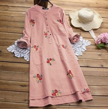 新品大きいサイズ5L〜6Lゆったり薔薇刺繍ワンピース長袖