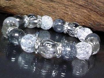 銀六字真言梵字水晶シルバークラック&クラック水晶数珠
