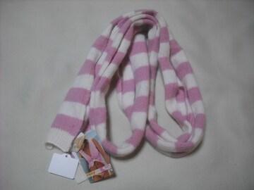 wb844 ROXY ロキシー ニットマフラー スカーフ ピンク白