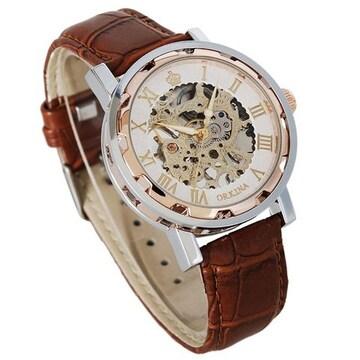 スケルトン スティームパンク 手巻き腕時計