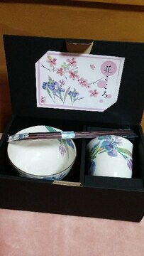 花ごころ☆たっぷりめお茶碗、湯呑み、箸セット