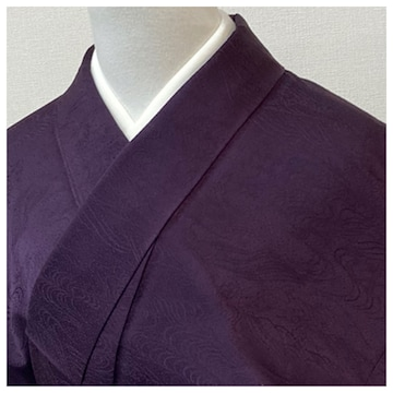 特選 色無地 身丈154 裄63.5 正絹 袷 一つ紋入り(濃紫)流水風