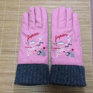 キャセリーニ・スカジャン風地図刺繍手袋。ピンク