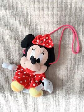 ディズニー ミニーマウス ネックストラップ付き ぬいぐるみポーチ 未使用品