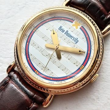 慶應義塾大学 連合三田会 1991年 腕時計 ベルト焦げ茶色
