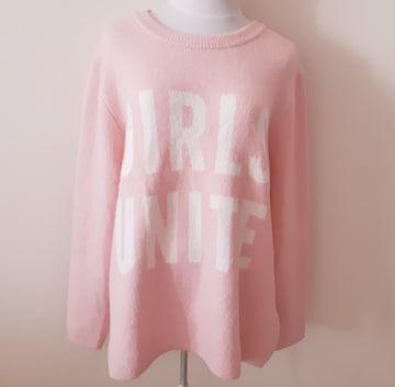 ◆美品◆H&M◆ピンク×白◆ニット◆ロゴ◆L◆