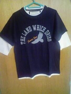 Aー250★新品★メンズフェイクレイヤード五分袖Tシャツ ブラック ��