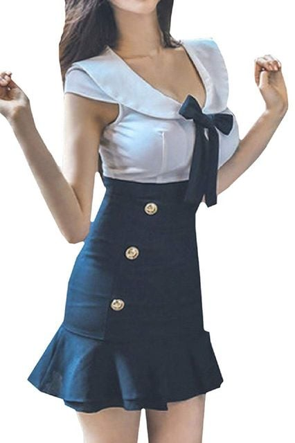 セーラー服風 フリル タイトワンピース(XLサイズ)  < 女性ファッションの