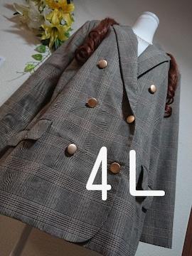 ★新品タグ4L★グレンチェック★ジャケット★定価8900円+税