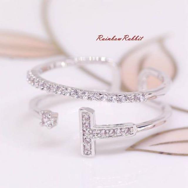 指輪 18K RGP プラチナ ダイヤ CZ 上品 リング yu1105e  < 女性アクセサリー/時計の