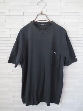 即決/BURBERRY BLACK LABEL/ワンポイント刺繍半袖丸首Tシャツ黒3